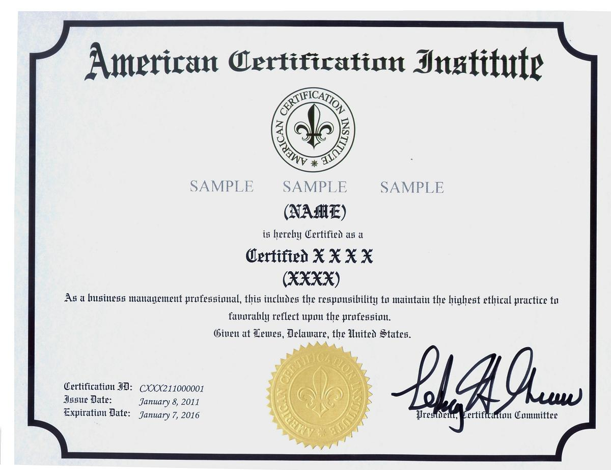 Acisampleg certification samples aci certification yadclub Image collections